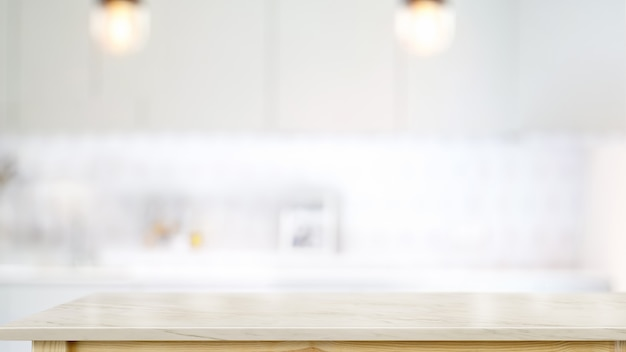 Premium Photo | Empty White Marble Top Table In Modern Kitchen Room Background.