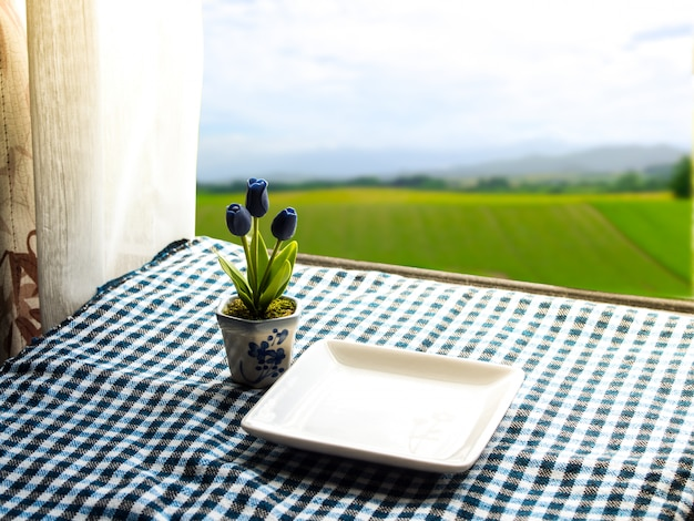 Empty white plate and blue tulips in white potted on a table near the window. Premium Photo