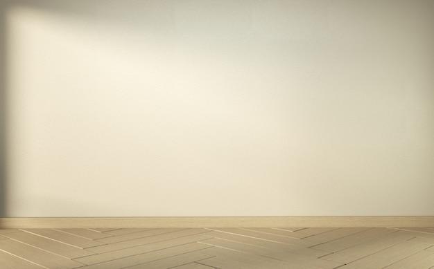 Empty white room on wooden floor interior design. 3d rendering Premium Photo