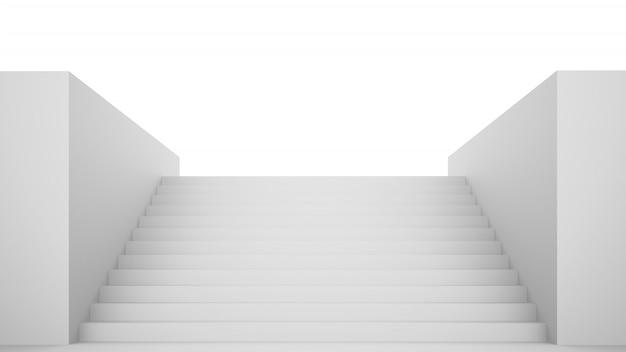 Empty white stairs Premium Photo
