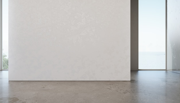 별장 또는 휴가 빌라에서 빈 흰색 벽 배경 프리미엄 사진