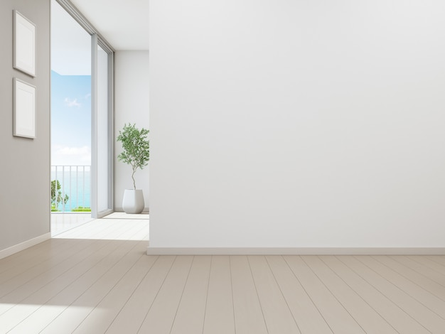 Empty white wall background in vacation home or holiday villa Premium Photo