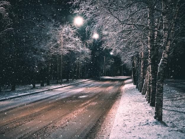 Empty winter night rural road with lights. Premium Photo