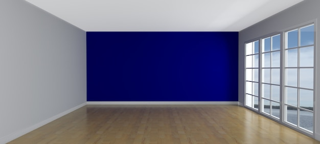 empty with a blue wall room photo free download