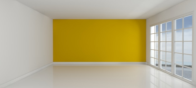 Empty with a yellow wall room Free Photo