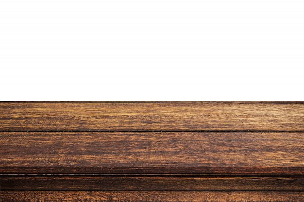 Empty wood table on isolate white background and display montage with copy space for product. Premium Photo