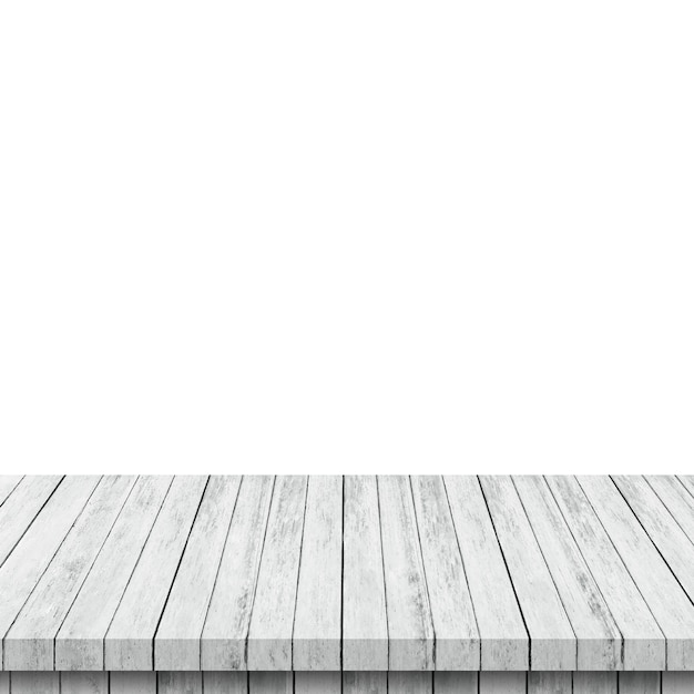 Empty wood table on isolate white and display montage for product. Premium Photo