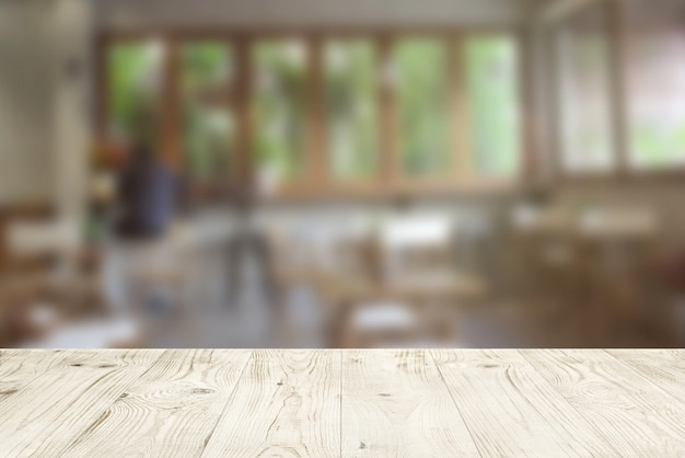 Surprising Empty Wood Table Top On Blur Abstract Of Cafe Or Bar Home Interior And Landscaping Pimpapssignezvosmurscom