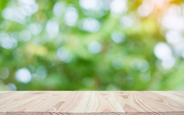 Empty wood table top and blur nature Premium Photo