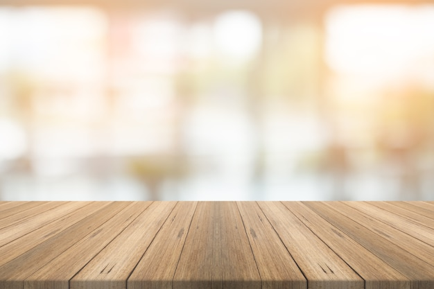 Empty Wood Table Top On Blurred Background Photo Premium