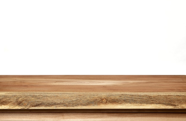 Empty wood table top on white background Premium Photo