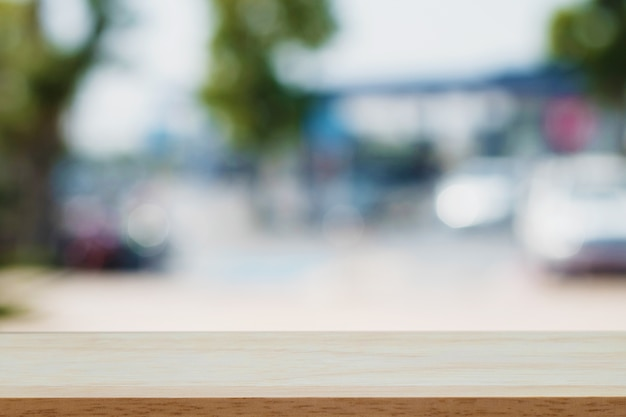 Empty wood with blur resturant background Premium Photo