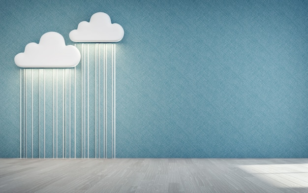 Empty wooden floor of kids room with white cloud and rain icon. Premium Photo