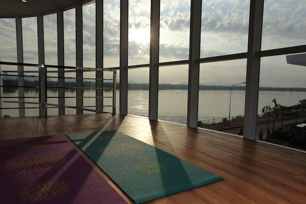 Empty wooden floor space in fitness center Premium Photo