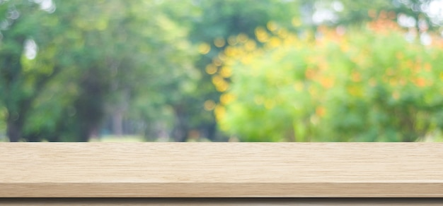 Empty Wooden Table Over Blurred Tree Park Nature With