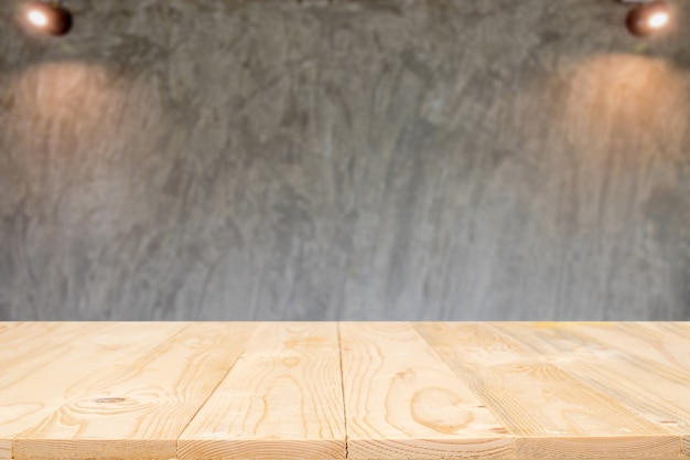 Empty wooden table space platform and blurred background