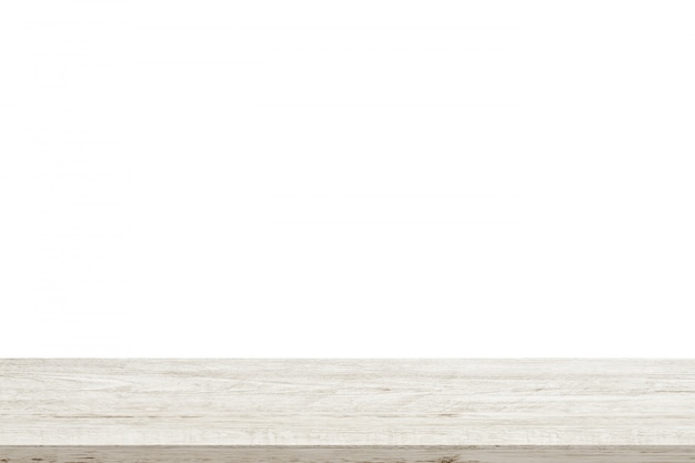 Empty wooden table top isolated on white background Premium Photo