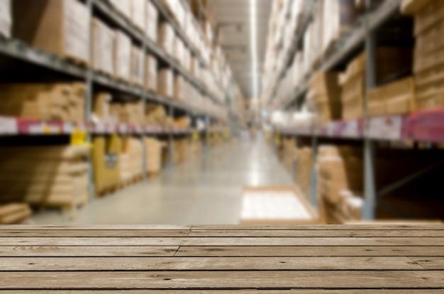 Empty wooden table warehouse Premium Photo