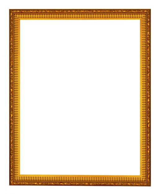 Empty wooden vintage frame isolated on white Premium Photo