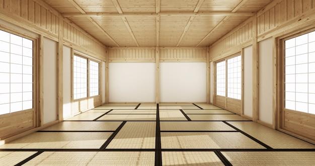 Empty yoga room inteior with tatami mat floor Premium Photo