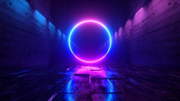Бесконечный полет в футуристическом темном коридоре с неоновой подсветкой. впереди яркий неоновый круг. Premium Фотографии
