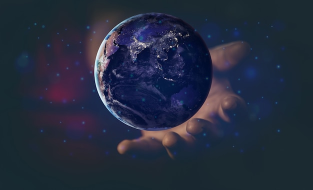 Energy and ecology concept, human hand holding flying earth Premium Photo