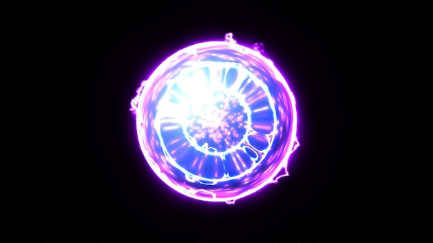 Energy plexus ball nucleus on black background Premium Photo