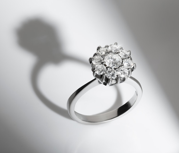 Engagement diamond ring on white background Premium Photo