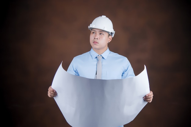 Engineer man, construction worker concept Free Photo