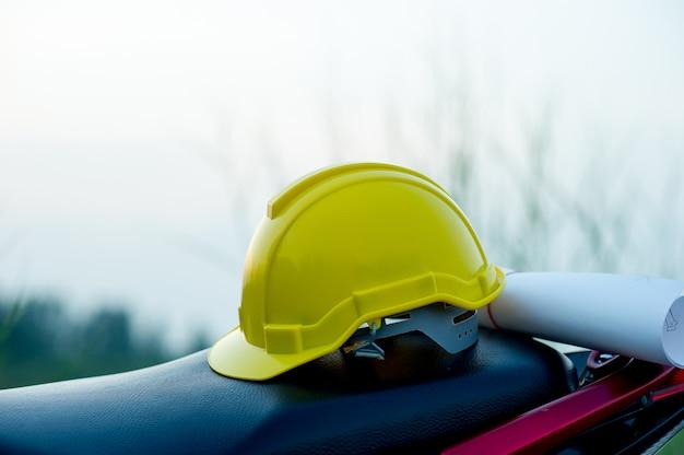 Engineering caps placed on paper Premium Photo