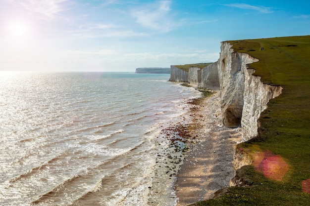 Englichチャンネルとseven sistersは、英国チャンネルによる一連の白亜の崖です。 Premium写真