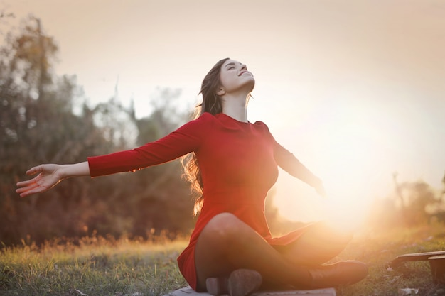 Enjoying an autumn sunshine Premium Photo