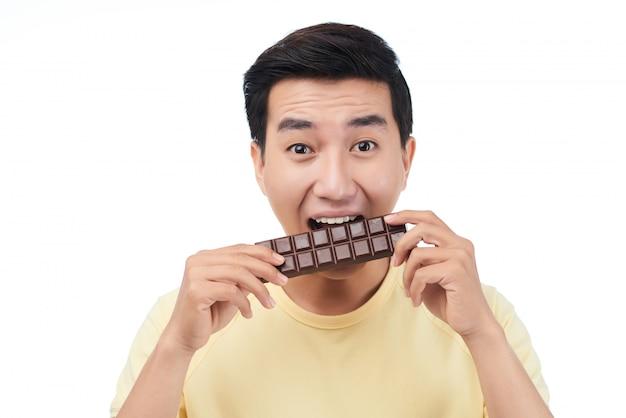 Enjoying chocolate Free Photo