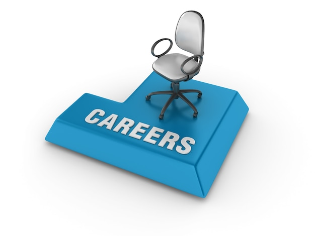 Enter key with chair and careers word Premium Photo