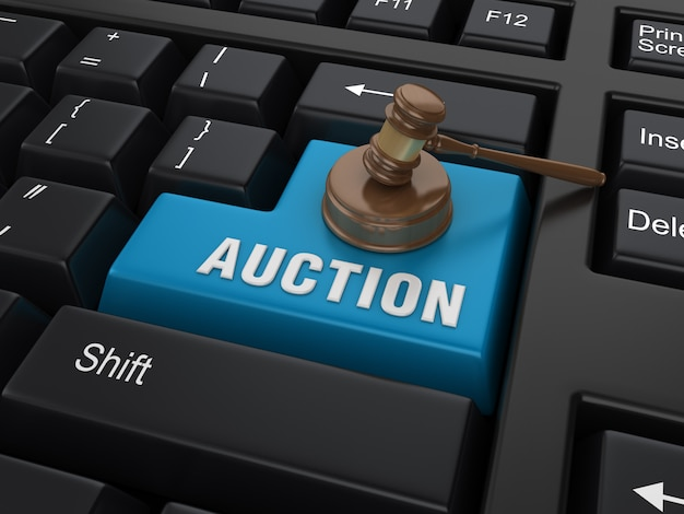 Enter key with legal gavel and auction word Premium Photo