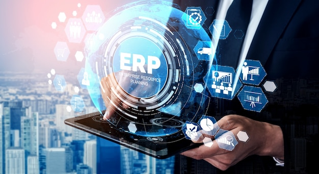 Enterprise resource management erp software system for business resources plan Premium Photo