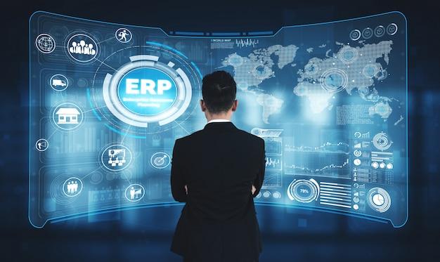 Enterprise resource management erp система программного обеспечения для плана бизнес-ресурсов Premium Фотографии