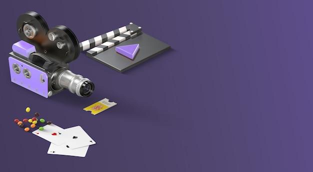紫色の側面からのflatlayアイテムとエンターテイメント映画バナー Premium写真