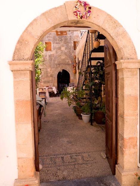 Entrance archway in rhodes greece Premium Photo