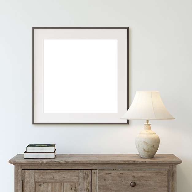 Entryway with the rustic commode. interior and frame mockup. 3d render. Premium Photo