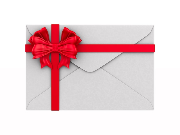 Envelope with bow on white background. isolated 3d illustration Premium Photo