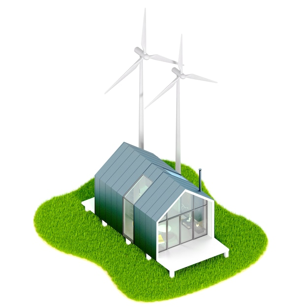 Environmental eco-concept.top view of a modern small white tiny house in the style of barn with a metal roof on an island with wind engines mill. 3d illustration on a white table, isolated Premium Photo