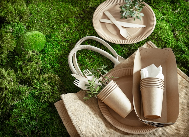Environmentally friendly, disposable, recyclable tableware. Free Photo