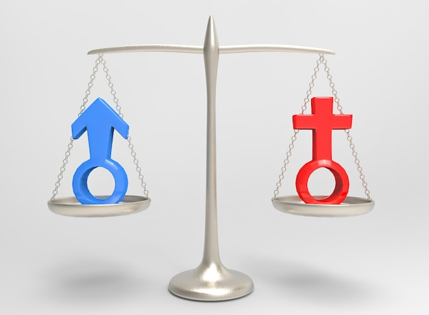 Equality of blue male and red female gender sign on silver balance scale Premium Photo