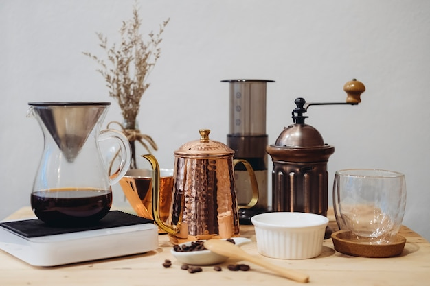 Equipment for coffee maker and barista Free Photo