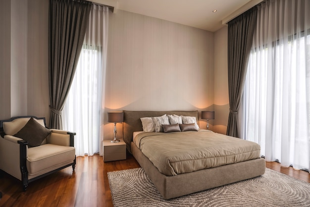 Equipment for a comfortable and restful experience in modern bedroom. Premium Photo
