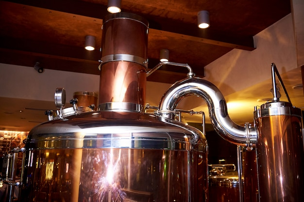 Equipment for the preparation of beer.installation for making beer. Premium Photo