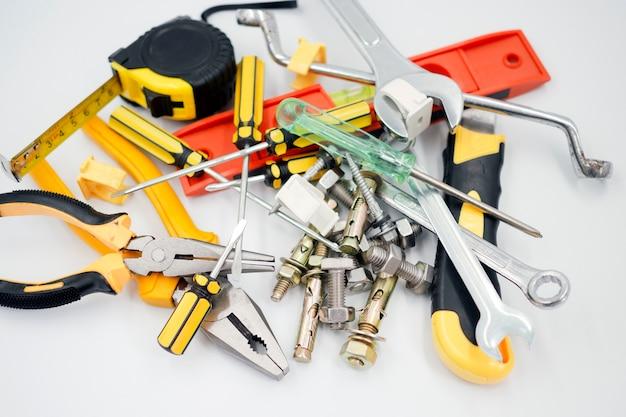 Equipment, tools and materials used in construction Premium Photo