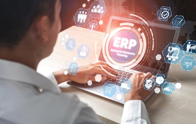 経営資源計画のための企業資源管理erpソフトウェアシステム Premium写真