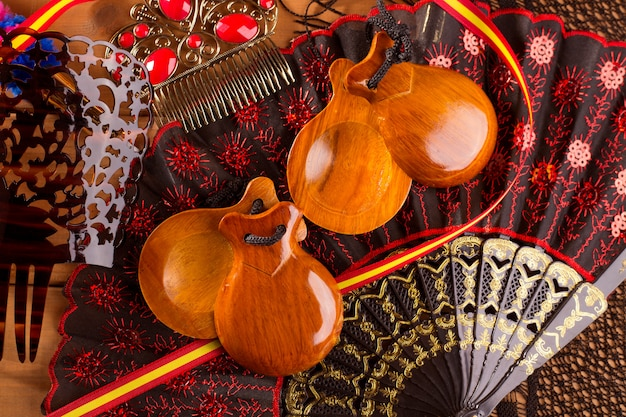 Espana typical from spain with castanets flamenco elements Premium Photo